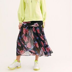 Free People Sheer Ankle Floral Maxi Skirt NWT Sz L